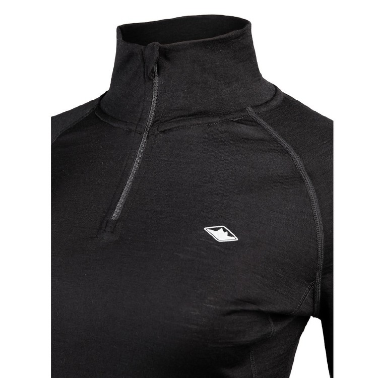 Women's Merino Long Sleeve Quarter Zip Top Black