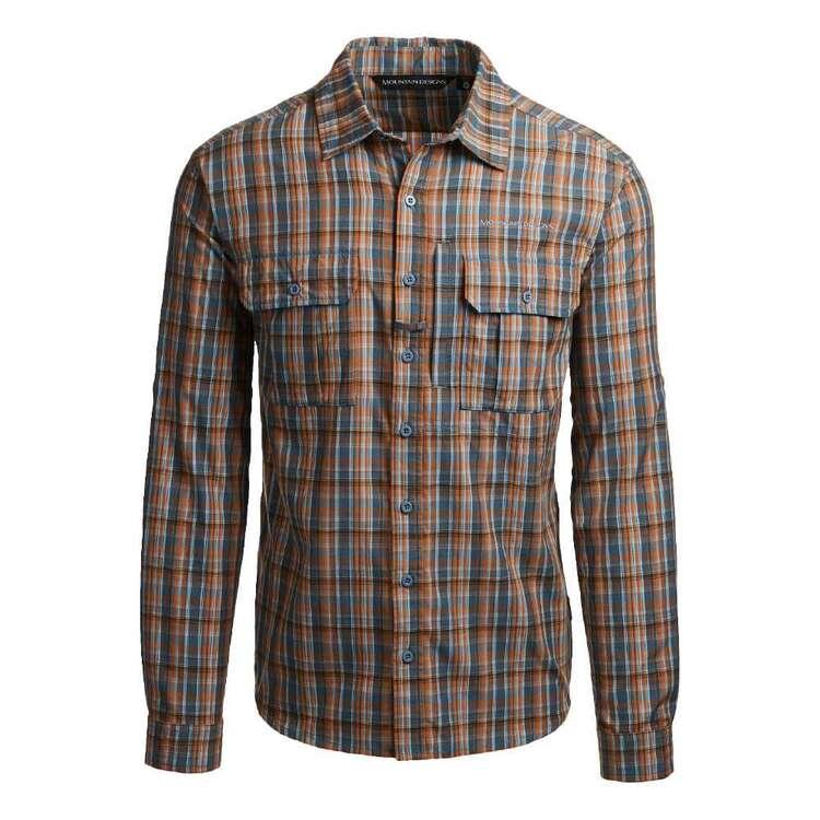 Men's Barron Long Sleeve Shirt Orange Check
