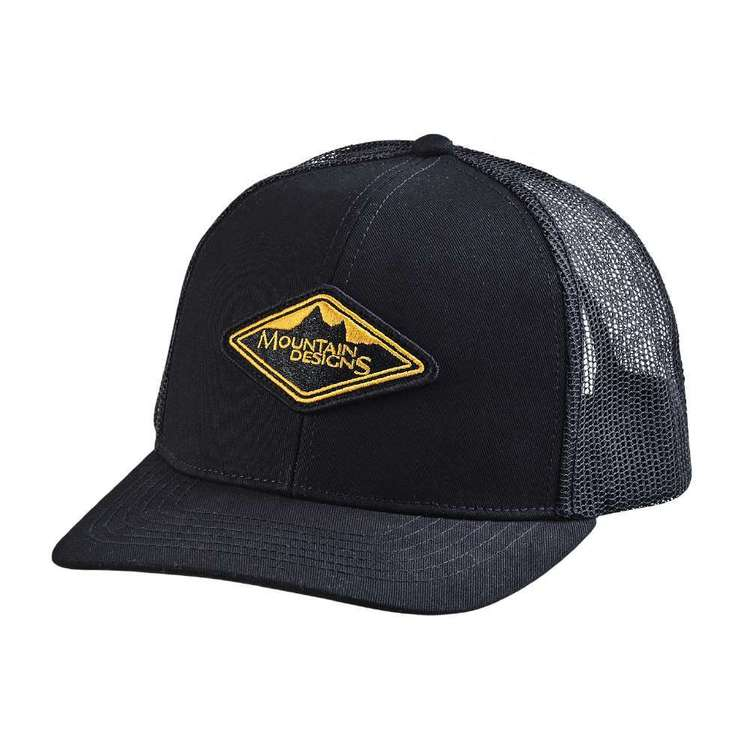 Contour Unisex 6 Panel Black Logo Trucker Cap