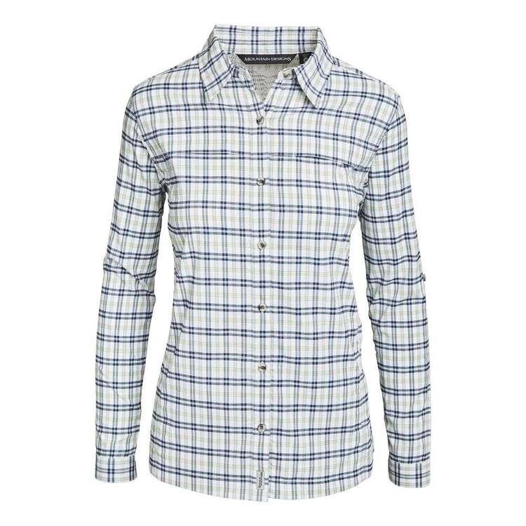 Women's Kalamina Long Sleeve Shirt Navy & White Check