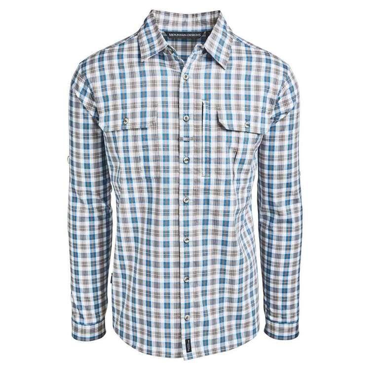 Men's Glenbrook Long Sleeve Shirt Blue & White Check