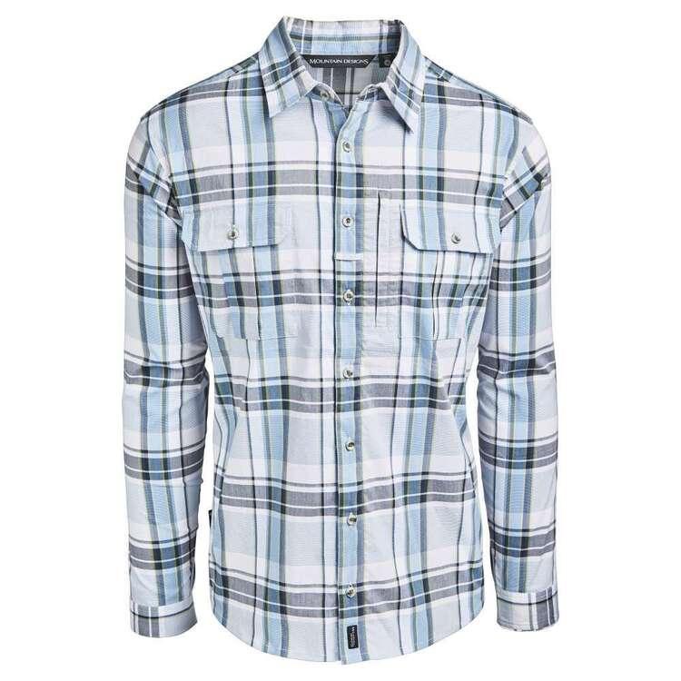 Men's Glenbrook Long Sleeve Shirt Blue & Bark Check